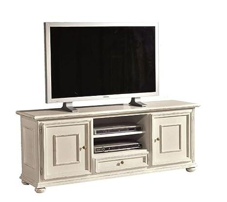 Lignum Veritas - OPI - Muebles TV 2 puertas 1 cajón toulipier solida y parte de chapa de madera en acabado Shabby Chic ( ruinas lacada en blanco ) - Cm. 150 x 44 x H 60