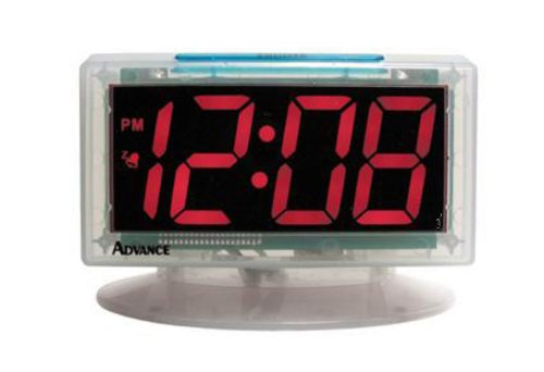 Advance Time Technology Red Led Alarm Clock With Clear Case, 1.8-Inch