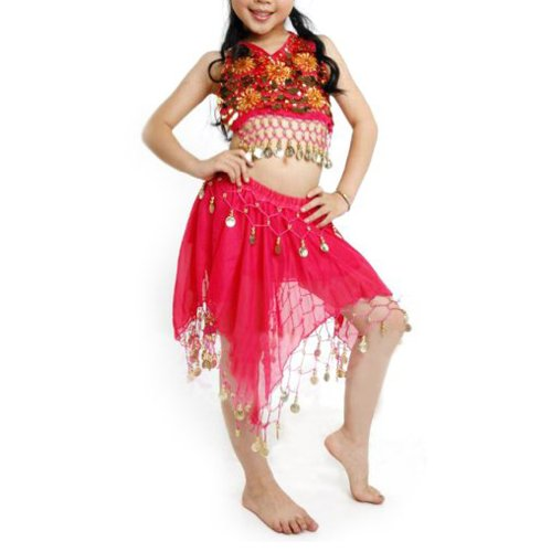 BellyLady Kid Egyptian Belly Dance Costume, Skirt & Halter Top Sets, Rose Red