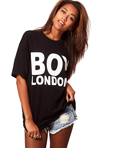 Modern Women White Black Letter Boy London O-Neck T Shirts Medium Black