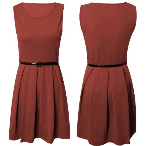 Ladies Sleeveless Belted Tailored Skater Dress