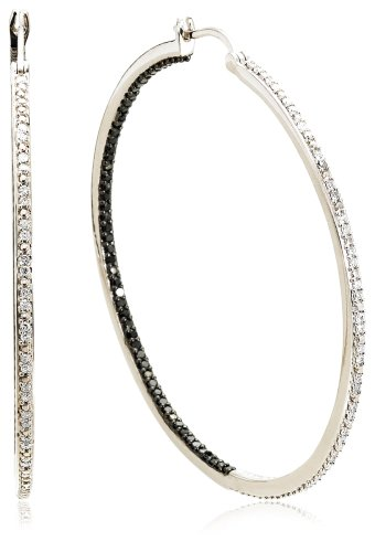 Sterling Silver Black and White Diamond Hoop Earrings (1 cttw) 2″ Diameter)