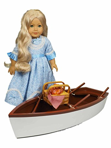 """18"""" Doll Furniture & Accessories For American Girl® , Skiff Style Row Boat & Oars fits Two 18"""" Dolls"""