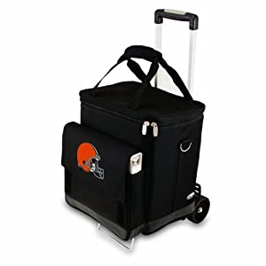 NFL Insulated Cellar Six Bottle Wine Tote with Trolley by Picnic Time