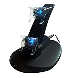 Micropromo Led Light Usb Dual Controller Charger Charging Dock Station Stand For Microsoft Xbox One Controller Black