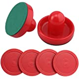 Set of Two Red Air Hockey Pushers and Four Red Pucks