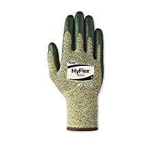 Ansell HyFlex 11-511 Kevlar Glove, Cut Resistant, Green Foam Nitrile Coating, Knit Wrist Cuff, Large, Size 9 (Pack of 12)