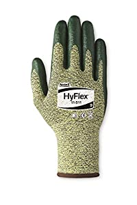 Ansell HyFlex 11-511 Kevlar Glove, Cut Resistant, Green Foam Nitrile Coating, Knit Wrist Cuff, X-Large, Size 10 (Pack of 12)