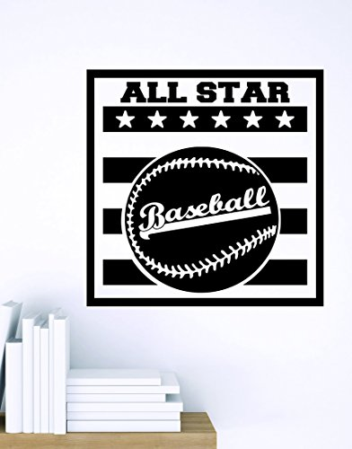 Design with Vinyl Zzz 839 4 Decor Item Baseball All Star Sports Design Boys Kids Bedroom Wall Sticker Decal, 20-Inch x 20-Inch, Black