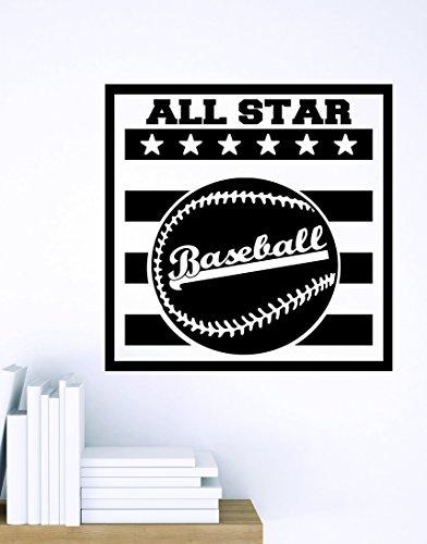 Design with Vinyl Zzz 839 4 Decor Item Baseball All Star Sports Design Boys Kids Bedroom Wall Sticker Decal, 20-Inch x 20-Inch, Black