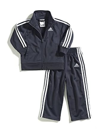 adidas Little Boys' Iconic Tricot Set, Mercury Grey, 7X
