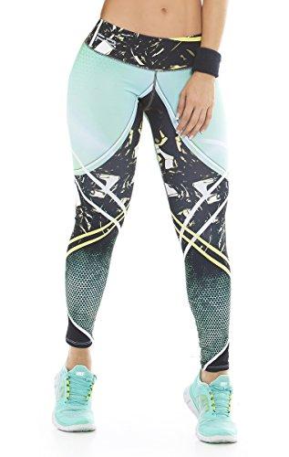 Fiber Leggings Womens Yoga Pants Compression Tights (aqua black)