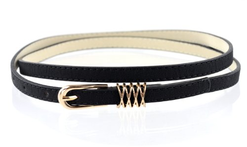 Fabulous New Trendy Skinny Faux Leather Belt w/Round Metal Buckle & Loop (M, Black)