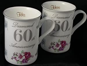 Diamond 60th Wedding Anniversary gift Pair of Mugs: Amazon.co.uk ...