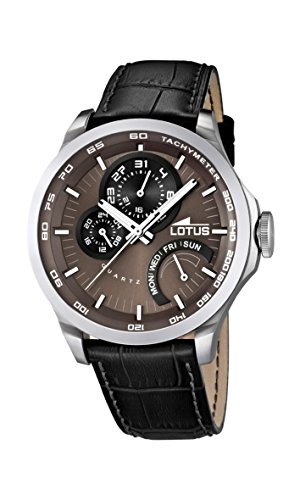 Lotus Men's Quartz Watch with Brown Dial Analogue Display and Black Leather Strap 15846/3