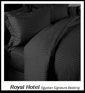 Purchase Royal Hotel's Striped Black 600-Thread-Count 3pc Queen Duvet-Cover 100-Percent Egyptian Cot...