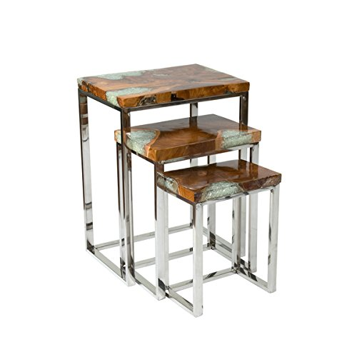 Crafted Home's Aiden Petrified Wood Nesting Table (Petrified Wood Tray compare prices)