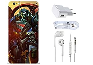 Spygen Apple Iphone 6 Plus Case Combo of Premium Quality Designer Printed 3D Lightweight Slim Matte Finish Hard Case Back Cover + Charger Adapter + High Speed Data Cable + Premium Quality Handfree