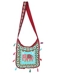 Rajrang Beautiful Womens Elephant Printed Cotton Embroidered Work Maroon Sling Bag