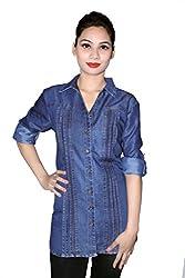 Cherry Clothing Women's Shirt (CDS1022 M_Light Blue_Medium)