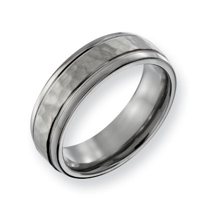 Titanium 7mm Hammered and Polished Band Ring - Size 7 - JewelryWeb