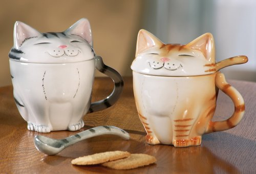 Fun Cat Coffee Mugs With Lids by Collections Etc