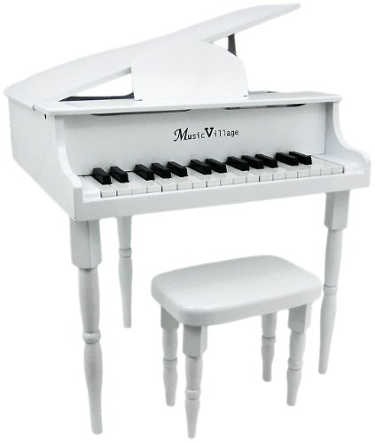 "Buy Discount Gloss White ""Baby"" Grand 30 Key Childs Piano With Bench"