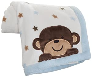 Carter's Embroidered Boa Blanket, Monkey Rockstar (Discontinued by Manufacturer)