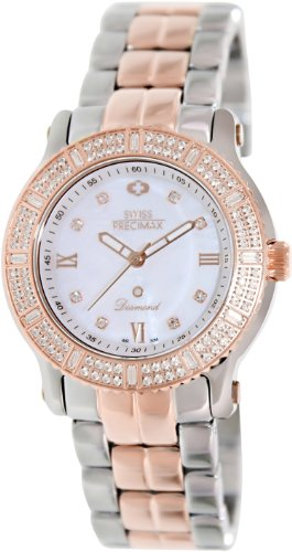 Swiss Precimax Women's Tribeca Diamond SP13331 Two-Tone Stainless-Steel Swiss Quartz Watch with Mother-Of-Pearl Dial