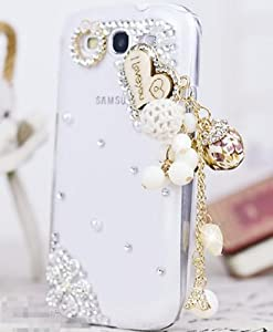 New 3D Bling Diamond Love Heart Hard Cover Skin Case For Samsung Galaxy S3 i9300-white