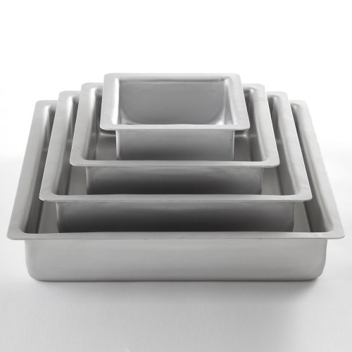 Fat Daddio's Square Anodized Aluminum Cake Pan Set, 4-piece
