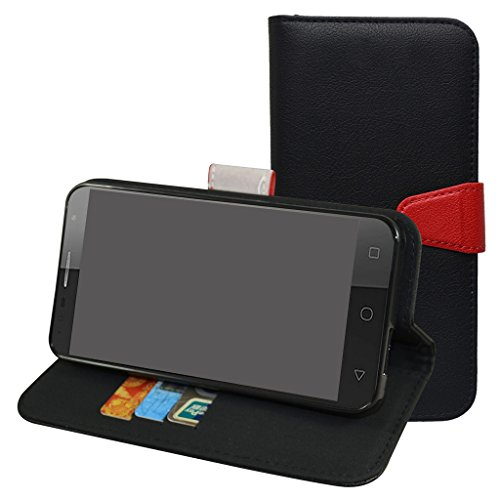 Alcatel Pop 4 Plus Custodia,Mama Mouth Portafoglio custodia in PU di cuoio pelle con supporto carte di credito in Piedi caso Case per Alcatel One Touch Pop 4 Plus Smartphone,Nero