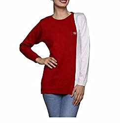 Leebonee Women's Acrylic Full Sleeve Red Sweater