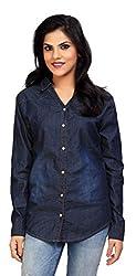 Carrel Brand Imported Denim Fabric Stylish Full Sleeve Shirt Navy Blue Colour Women L Size.
