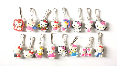 16 Pcs Hello Kitty Zipper Pull / Zip Pull Charms For Jacket Backpack Bag Pendant