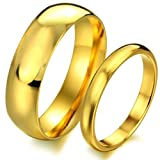 Opk Jewellery Love Couple Rings Stainless Steel Anniversary Bands Gift Plated Gold,Women - Size J 1/2