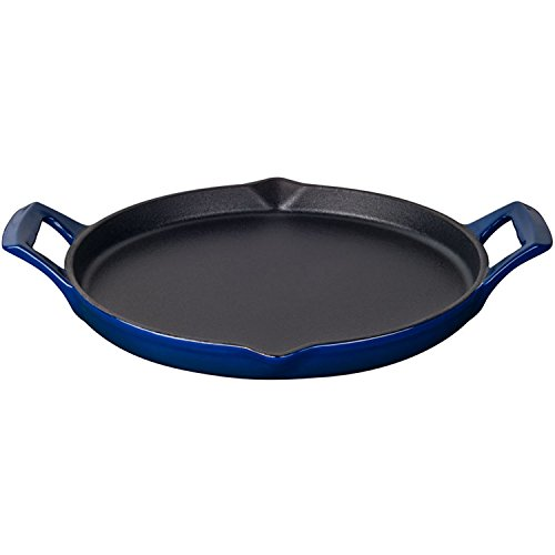 La Cuisine 12 In Enameled Cast Iron Shallow Griddle with 2 Wedge Handles, Blue