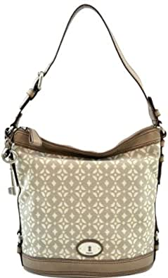 Fossil Maddox Signature Bucket Canvas with Leather Trim Large Shoulder Bag Purse Metallic