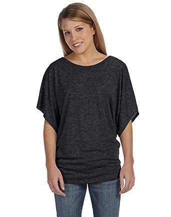 Bella 8821 Ladies 3.7 oz. Flowy Draped Sleeve Dolman T-Shirt - DARK GREY HEATHER - Small
