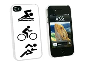 Graphics and More Triathlete Swim Bike Run - Triathlon - Snap On Hard Protective Case for Apple iPhone 4 4S - White - Carrying Case - Non-Retail Packaging - White