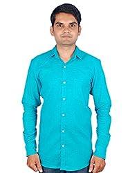 Maclavaro Mens Casual Solid Shirt_9PLNCOTEAL_Turquoise_M