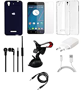 NIROSHA Tempered Glass Screen Guard Cover Case Charger Headphone Mobile Holder Combo for YU Yureka Combo