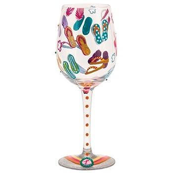 Lolita Flip Flops Too Artisan Painted Wine Glass