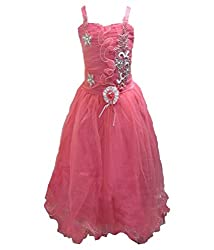 Motley Girls' Dress (5-6-301_6-7 Years_Red_6-7 Years)