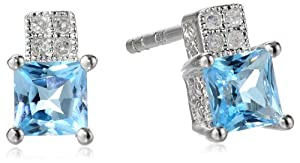 Amazon+Curated+Collection Sterling Silver Square Swiss-Blue-Topaz Diamond Earrings (0.04 cttw, I-J Color, I2-I3 Clarity)