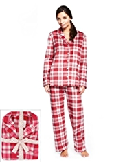Revere Collar Checked Fleece Pyjamas