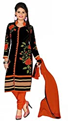 Manthan Black & Orange Printed Un-Stitched Chudidar Suit