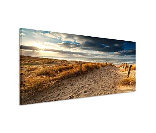 150x50cm leinwandbild auf keilrahmen holland nordsee meer strand sonnenuntergang wandbild auf. Black Bedroom Furniture Sets. Home Design Ideas