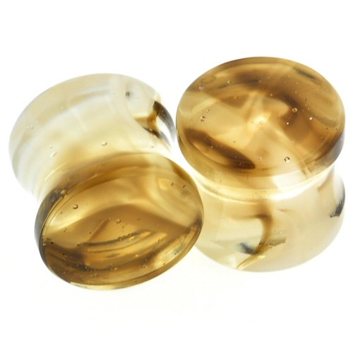 Pair of Glass Double Flared Power Plugs: 1-1/4