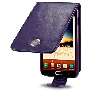 SAMSUNG GALAXY NOTE PREMIUM PU LEATHER FLIP CASE / COVER / POUCH / HOLSTER - PURPLE PART OF THE QUBITS ACCESSORIES RANGE